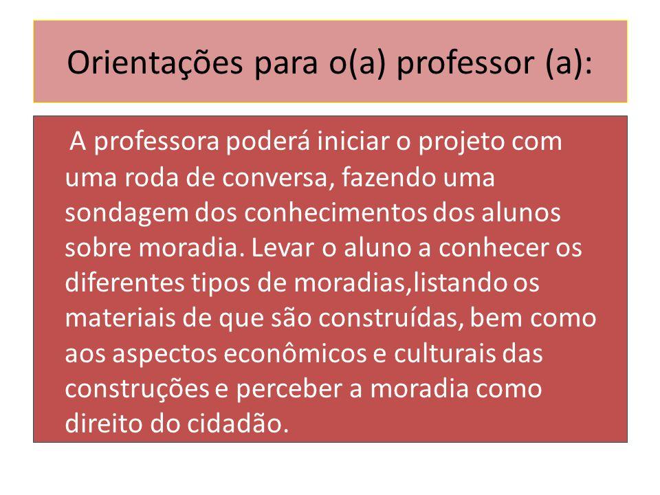 Orientações para o(a) professor (a): A professora poderá iniciar o projeto com uma roda de conversa, fazendo uma sondagem dos conhecimentos dos alunos
