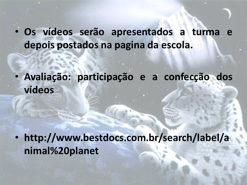 Os vídeos serão apresentados a turma e depois postados na pagina da escola. Avaliação: participação e a confecção dos vídeos http://www.bestdocs.com.b