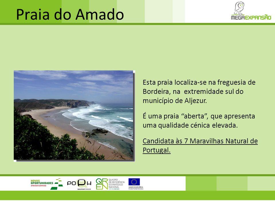 Praia do Amado Esta praia localiza-se na freguesia de Bordeira, na extremidade sul do município de Aljezur. É uma praia aberta, que apresenta uma qual