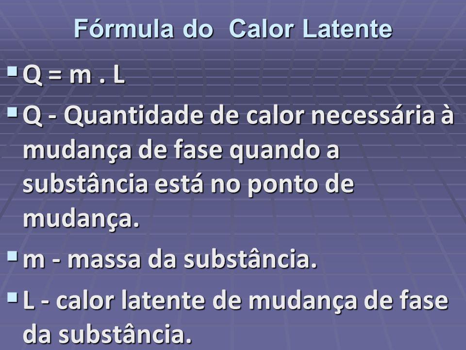 Fórmula do Calor Latente Q = m. L Q = m. L Q - Quantidade de calor necessária à mudança de fase quando a substância está no ponto de mudança. Q - Quan