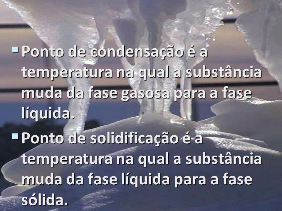 Ponto de condensação é a temperatura na qual a substância muda da fase gasosa para a fase líquida. Ponto de condensação é a temperatura na qual a subs