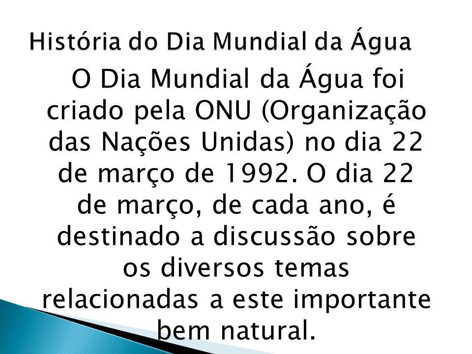 O Dia Mundial da Água foi criado pela ONU (Organização das Nações Unidas) no dia 22 de março de 1992.
