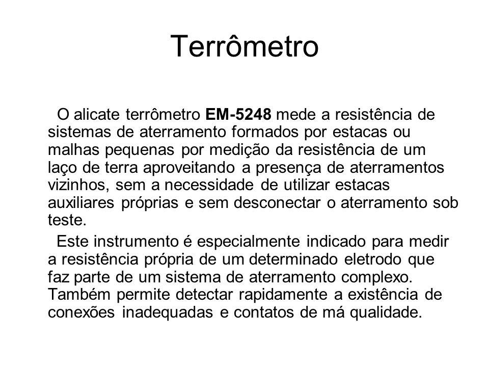 Terrômetro O alicate terrômetro EM-5248 mede a resistência de sistemas de aterramento formados por estacas ou malhas pequenas por medição da resistênc