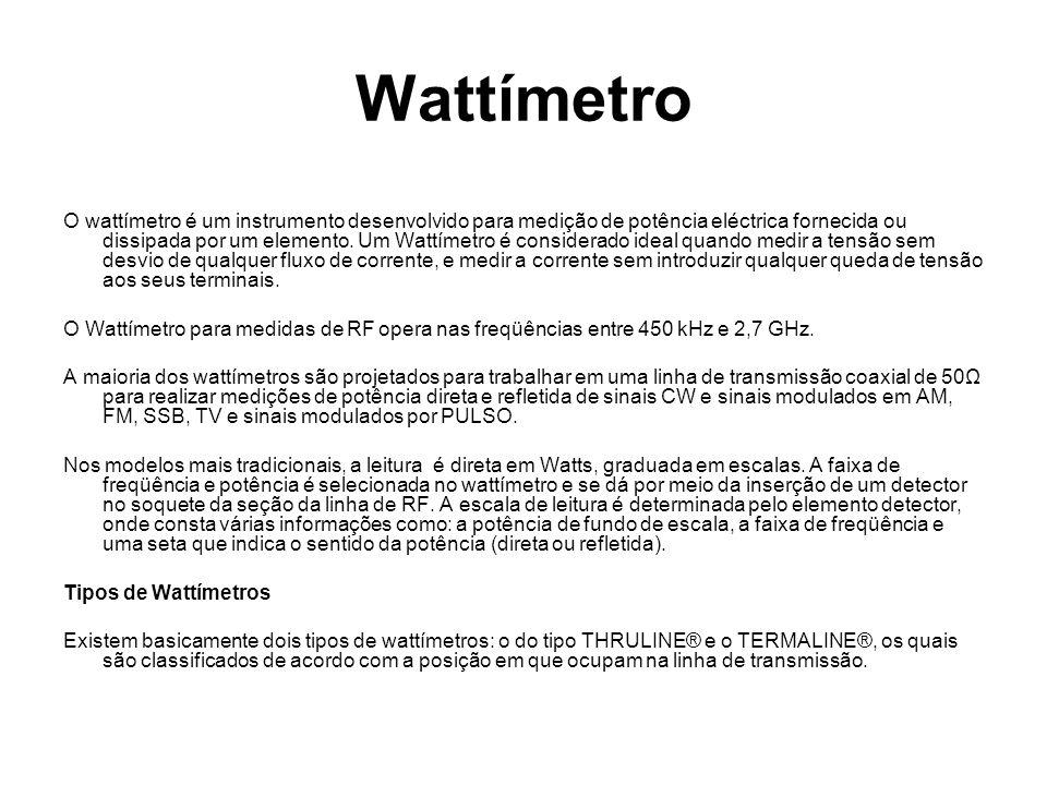 Wattímetro O wattímetro é um instrumento desenvolvido para medição de potência eléctrica fornecida ou dissipada por um elemento. Um Wattímetro é consi