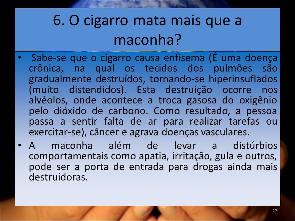 6. O cigarro mata mais que a maconha.