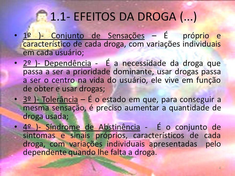 1.1- EFEITOS DA DROGA (...) 1º )- Conjunto de Sensações – É próprio e característico de cada droga, com variações individuais em cada usuário; 2º )- Dependência - É a necessidade da droga que passa a ser a prioridade dominante, usar drogas passa a ser o centro na vida do usuário, ele vive em função de obter e usar drogas; 3º )- Tolerância – É o estado em que, para conseguir a mesma sensação, é preciso aumentar a quantidade de droga usada; 4º )- Síndrome de Abstinência - É o conjunto de sintomas e sinais próprios, característicos de cada droga, com variações individuais apresentadas pelo dependente quando lhe falta a droga.