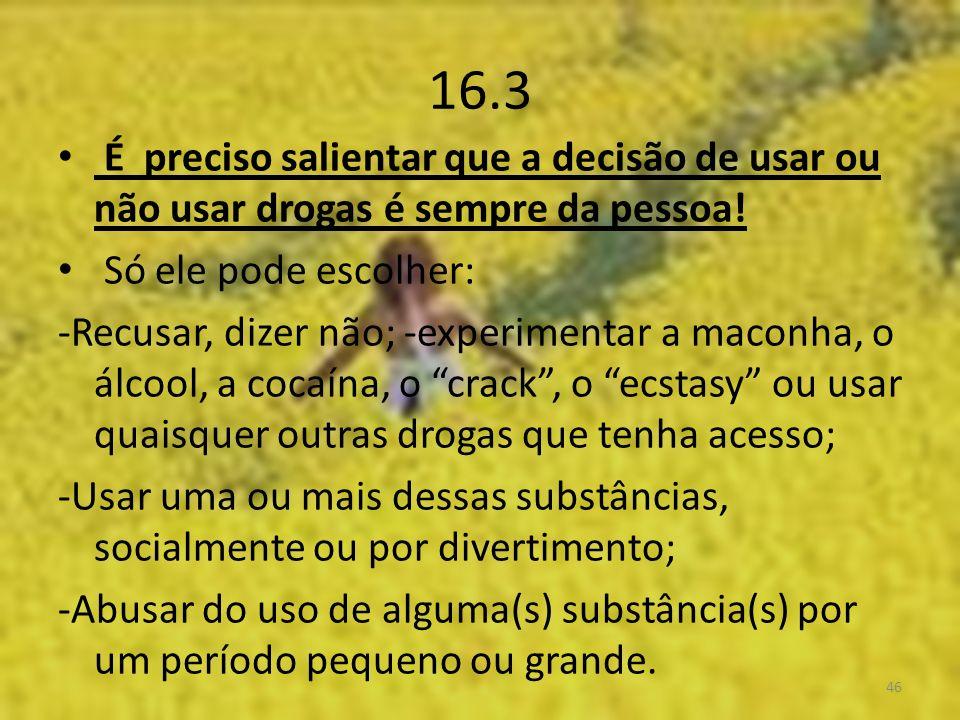 16.3 É preciso salientar que a decisão de usar ou não usar drogas é sempre da pessoa.