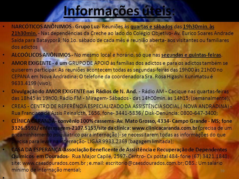 Informações úteis: NARCÓTICOS ANÔNIMOS - Grupo Luz- Reuniões às quartas e sábados das 19h30min.