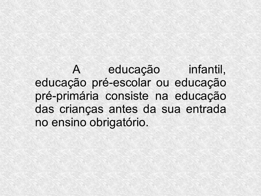 A educação infantil, educação pré-escolar ou educação pré-primária consiste na educação das crianças antes da sua entrada no ensino obrigatório.