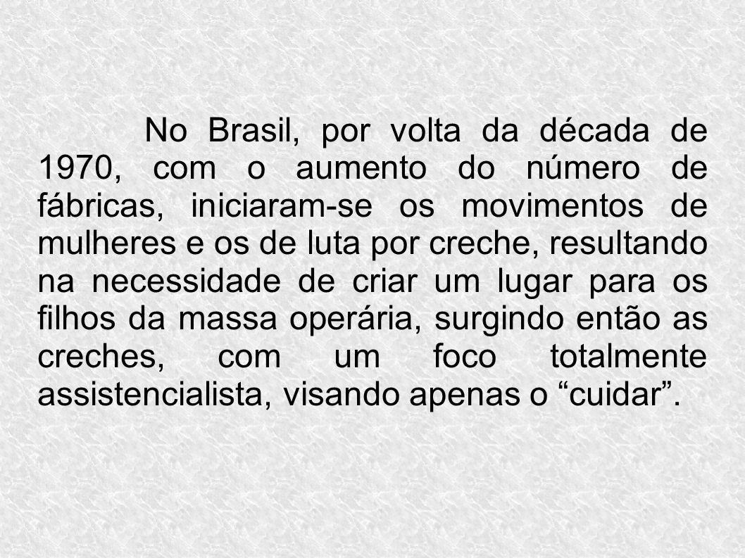No Brasil, por volta da década de 1970, com o aumento do número de fábricas, iniciaram-se os movimentos de mulheres e os de luta por creche, resultand