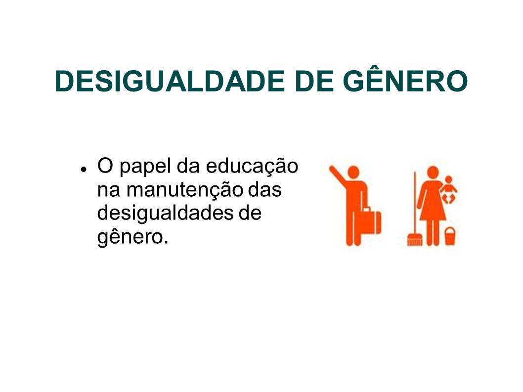 DESIGUALDADE DE GÊNERO O papel da educação na manutenção das desigualdades de gênero.