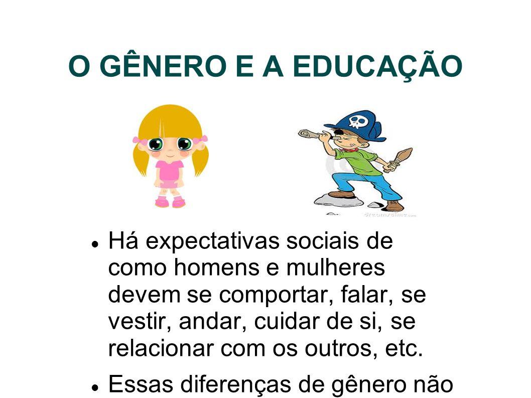 O GÊNERO E A EDUCAÇÃO Há expectativas sociais de como homens e mulheres devem se comportar, falar, se vestir, andar, cuidar de si, se relacionar com o