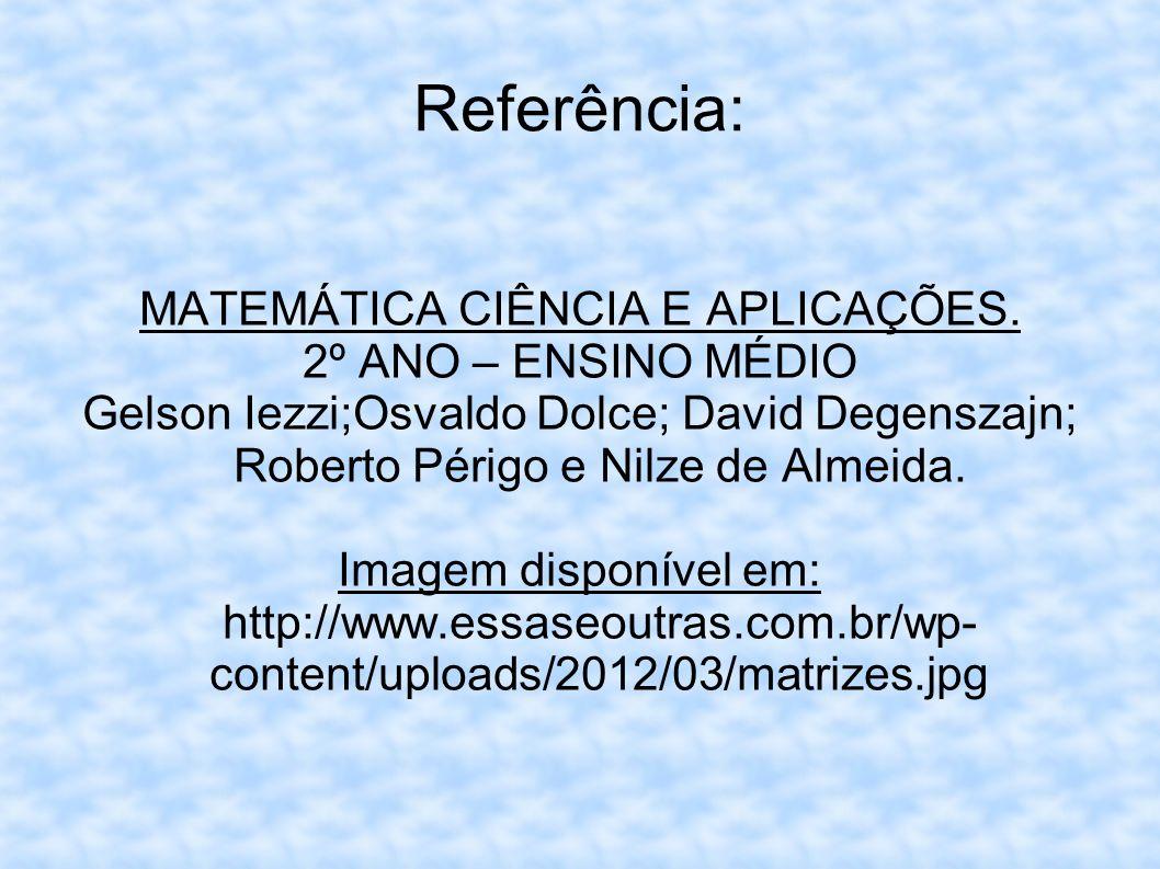 Referência: MATEMÁTICA CIÊNCIA E APLICAÇÕES. 2º ANO – ENSINO MÉDIO Gelson Iezzi;Osvaldo Dolce; David Degenszajn; Roberto Périgo e Nilze de Almeida. Im