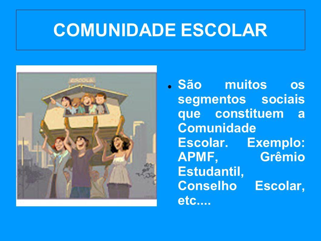COMUNIDADE ESCOLAR São muitos os segmentos sociais que constituem a Comunidade Escolar.