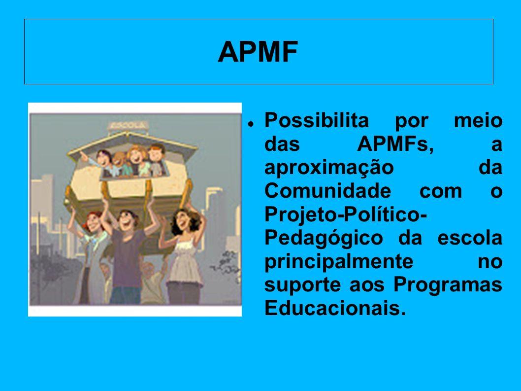 APMF Possibilita por meio das APMFs, a aproximação da Comunidade com o Projeto-Político- Pedagógico da escola principalmente no suporte aos Programas Educacionais.