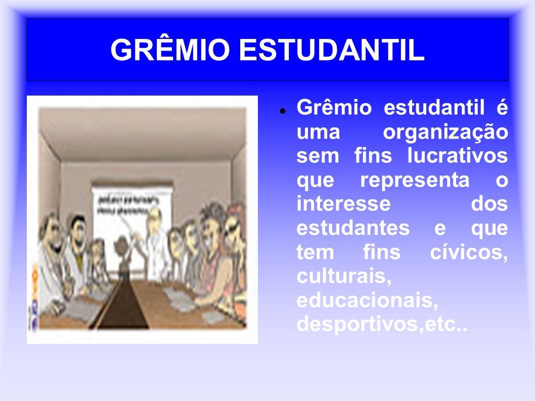 GRÊMIO ESTUDANTIL Grêmio estudantil é uma organização sem fins lucrativos que representa o interesse dos estudantes e que tem fins cívicos, culturais, educacionais, desportivos,etc..