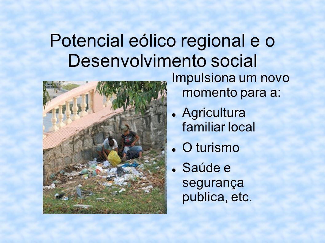 Potencial eólico regional e o Desenvolvimento social Impulsiona um novo momento para a: Agricultura familiar local O turismo Saúde e segurança publica