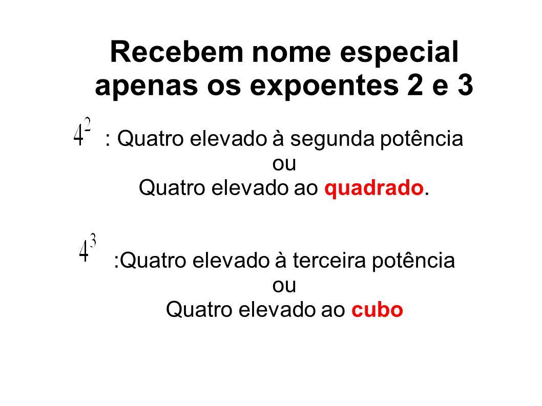 Recebem nome especial apenas os expoentes 2 e 3 : Quatro elevado à segunda potência ou Quatro elevado ao quadrado. :Quatro elevado à terceira potência