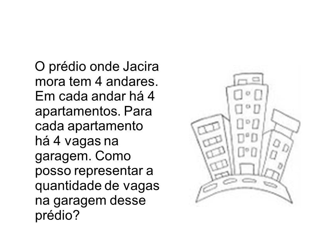 O prédio onde Jacira mora tem 4 andares. Em cada andar há 4 apartamentos. Para cada apartamento há 4 vagas na garagem. Como posso representar a quanti
