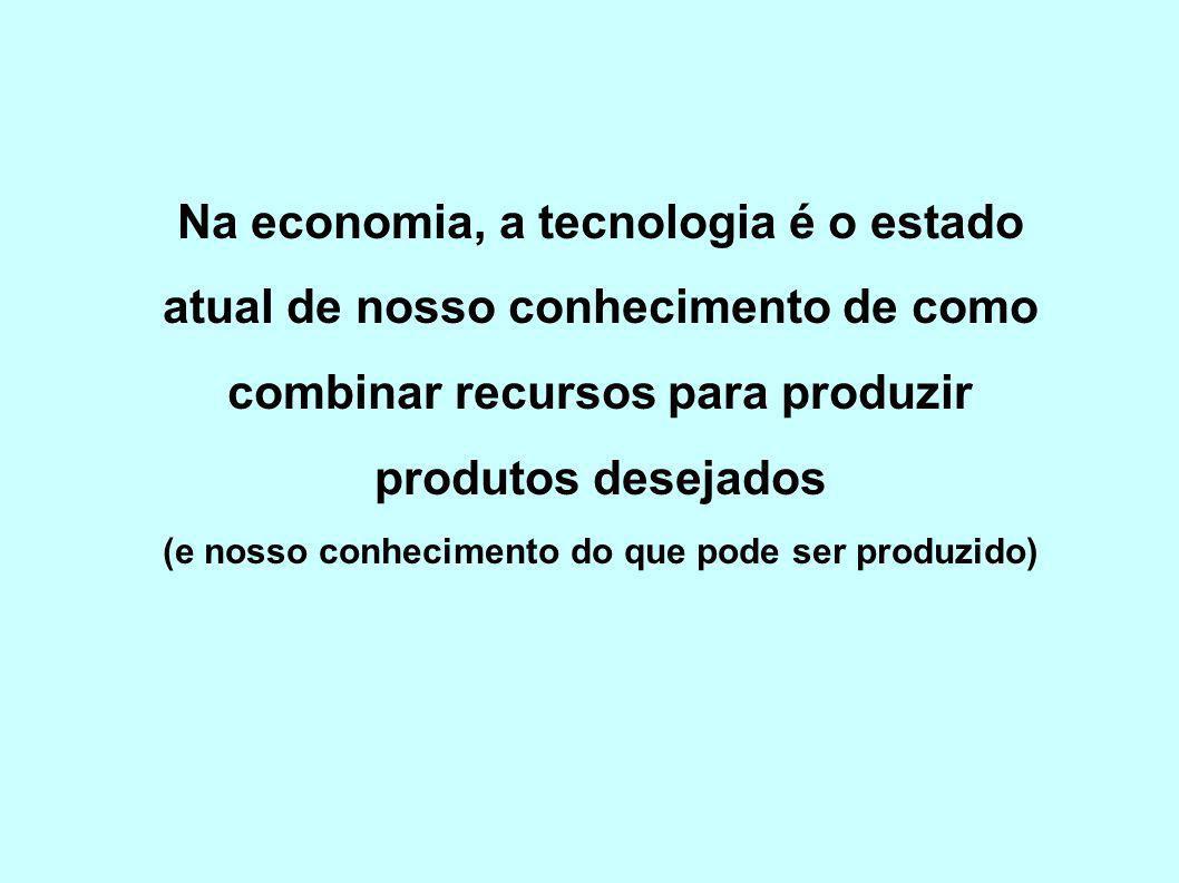 Na economia, a tecnologia é o estado atual de nosso conhecimento de como combinar recursos para produzir produtos desejados (e nosso conhecimento do que pode ser produzido)
