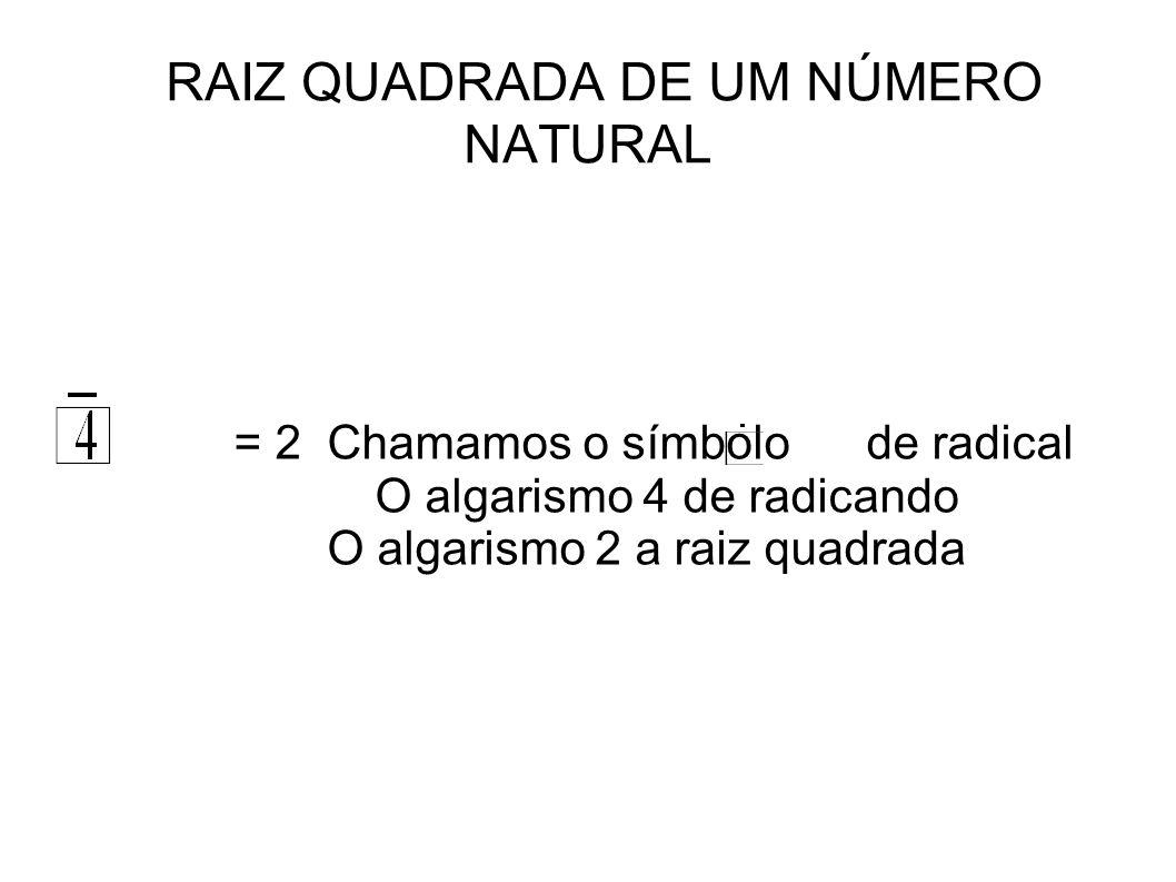 RAIZ QUADRADA DE UM NÚMERO NATURAL = 2 Chamamos o símbolo de radical O algarismo 4 de radicando O algarismo 2 a raiz quadrada