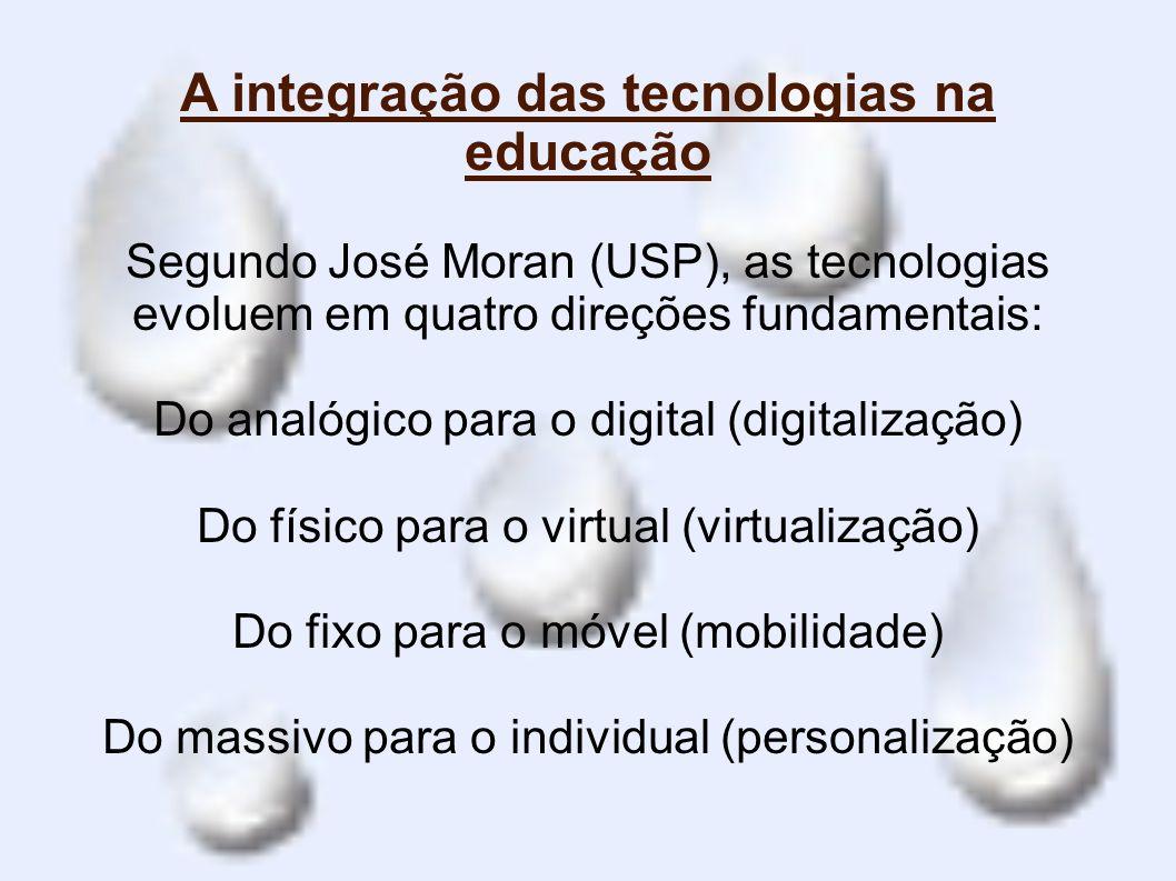 A integração das tecnologias na educação Segundo José Moran (USP), as tecnologias evoluem em quatro direções fundamentais: Do analógico para o digital