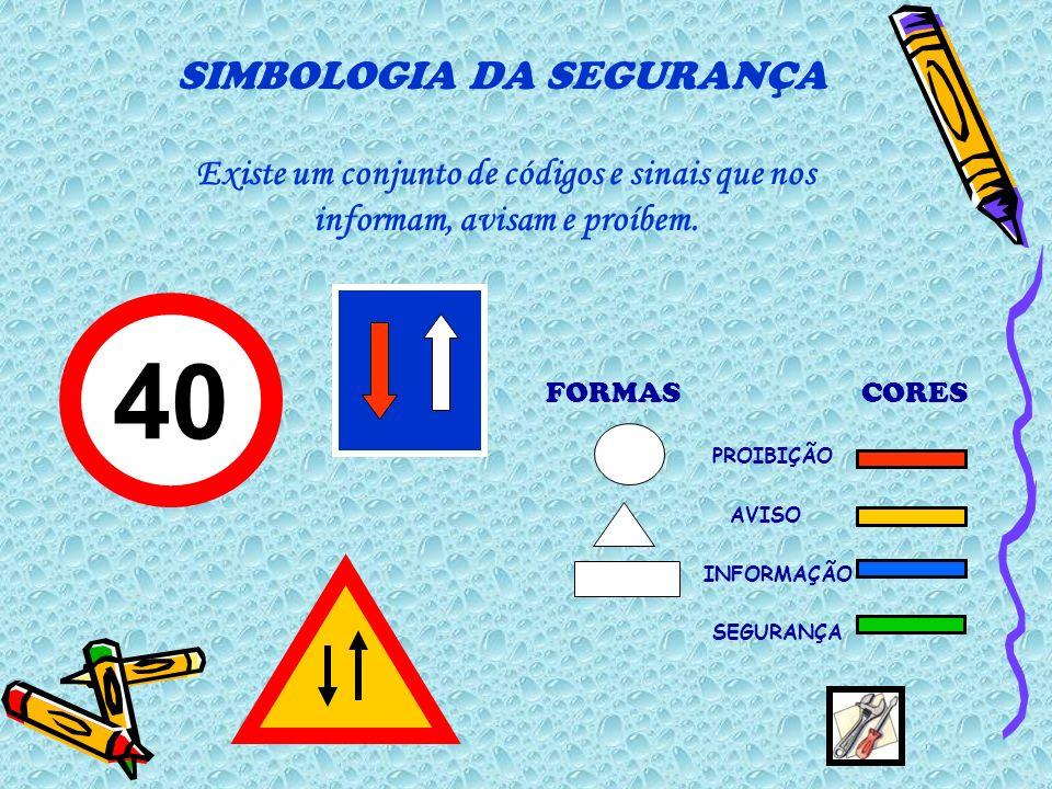 FORMASCORES PROIBIÇÃO AVISO INFORMAÇÃO SEGURANÇA SIMBOLOGIA DA SEGURANÇA 40 Existe um conjunto de códigos e sinais que nos informam, avisam e proíbem.