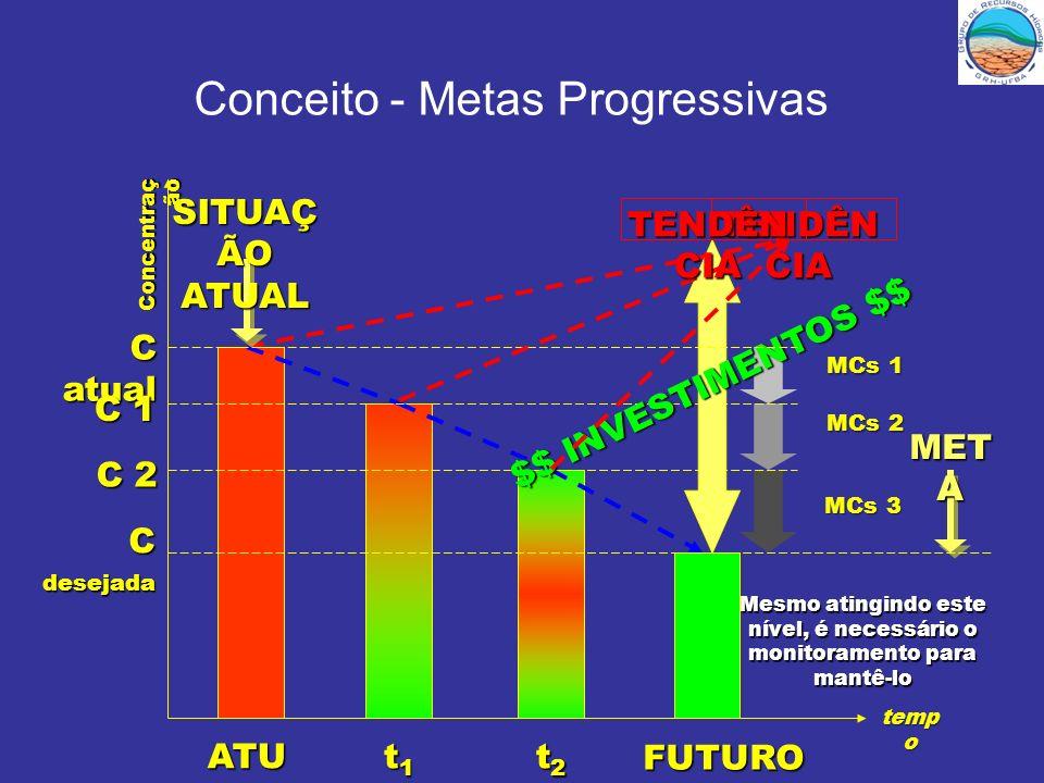 Conceito - Metas Progressivas MET A TENDÊN CIA MCs 1 MCs 2 MCs 3 temp o Concentraç ão C atual C 1 C 2 C desejada ATU AL t1t1t1t1 FUTURO t2t2t2t2 $$ IN
