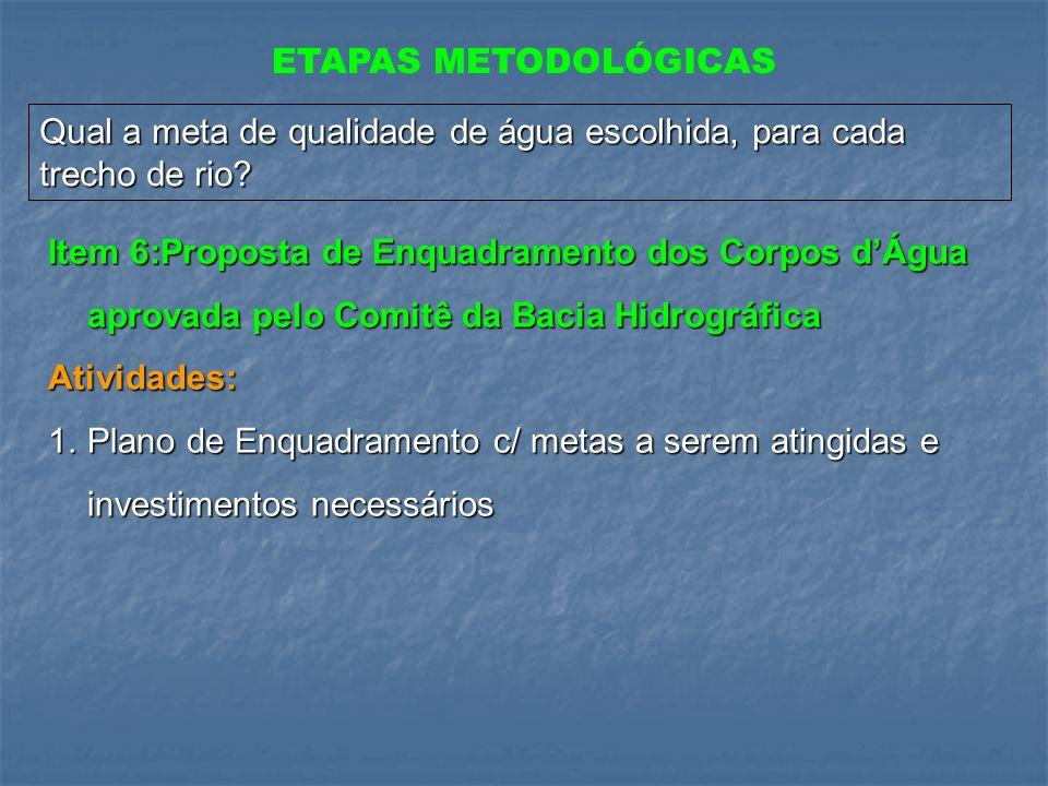 ETAPAS METODOLÓGICAS Qual a meta de qualidade de água escolhida, para cada trecho de rio? Item 6:Proposta de Enquadramento dos Corpos dÁgua aprovada p