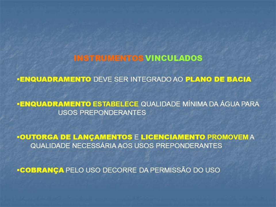 ENQUADRAMENTO estabelece a META ou OBJETIVO DE QUALIDADE DA ÁGUA (classe) do corpo de água, de acordo com os USOS PREPONDERANTES, atuais e futuros.
