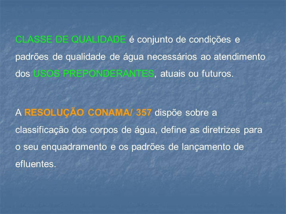 CLASSE DE QUALIDADE é conjunto de condições e padrões de qualidade de água necessários ao atendimento dos USOS PREPONDERANTES, atuais ou futuros. A RE
