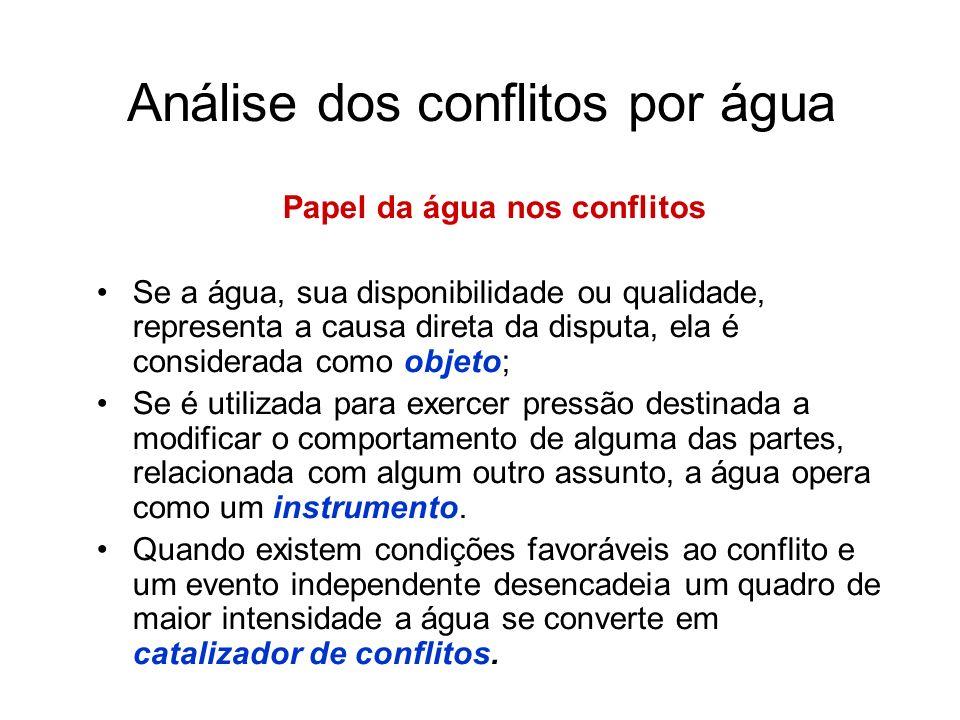 Análise dos conflitos por água Fontes de conflito por água Objetivos conflitantes - ocorre quando as partes afetadas têm propósitos distintos em torno a um mesmo recurso (valores, interesses, c.