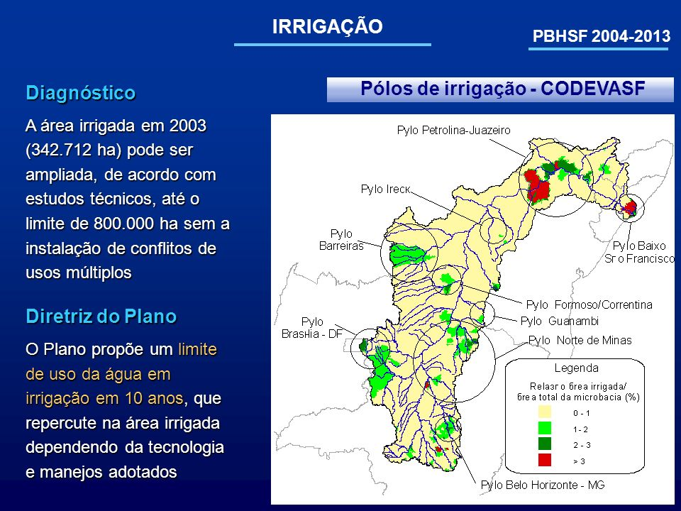 PBHSF 2004-2013 IRRIGAÇÃO Pólos de irrigação - CODEVASFDiagnóstico A área irrigada em 2003 (342.712 ha) pode ser ampliada, de acordo com estudos técni
