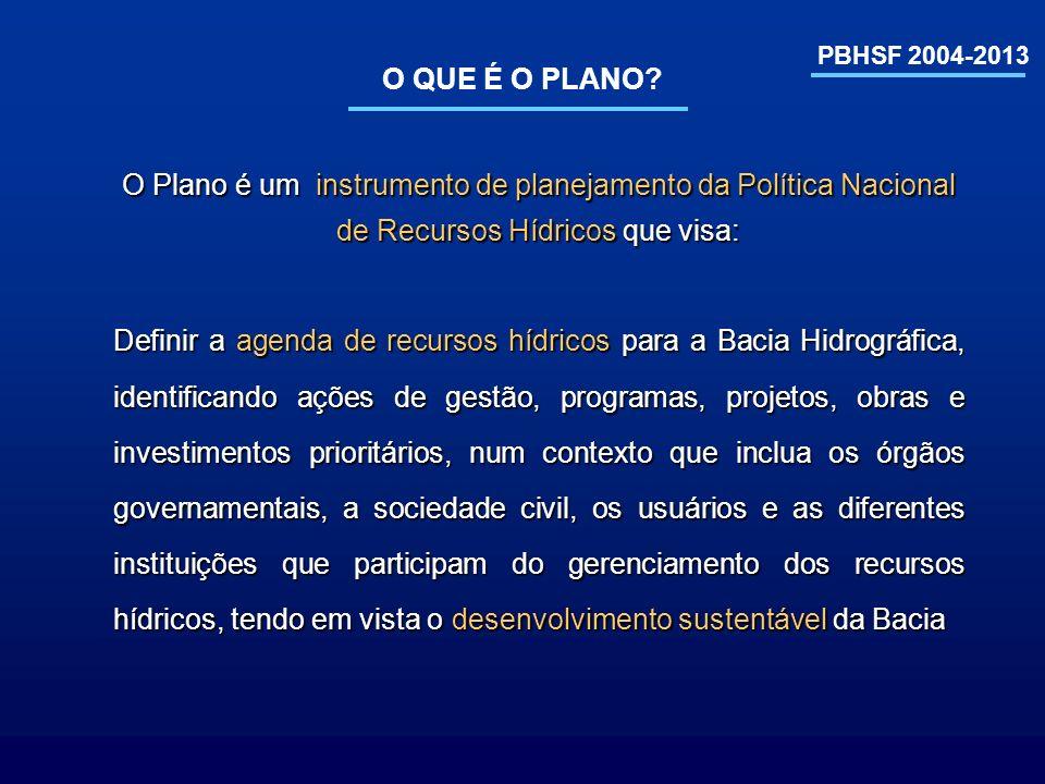 O QUE É O PLANO? O Plano é um instrumento de planejamento da Política Nacional de Recursos Hídricos que visa: PBHSF 2004-2013 Definir a agenda de recu