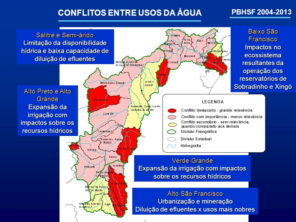 PBHSF 2004-2013 CONFLITOS ENTRE USOS DA ÁGUA Alto São Francisco Urbanização e mineração Diluição de efluentes x usos mais nobres Verde Grande Expansão