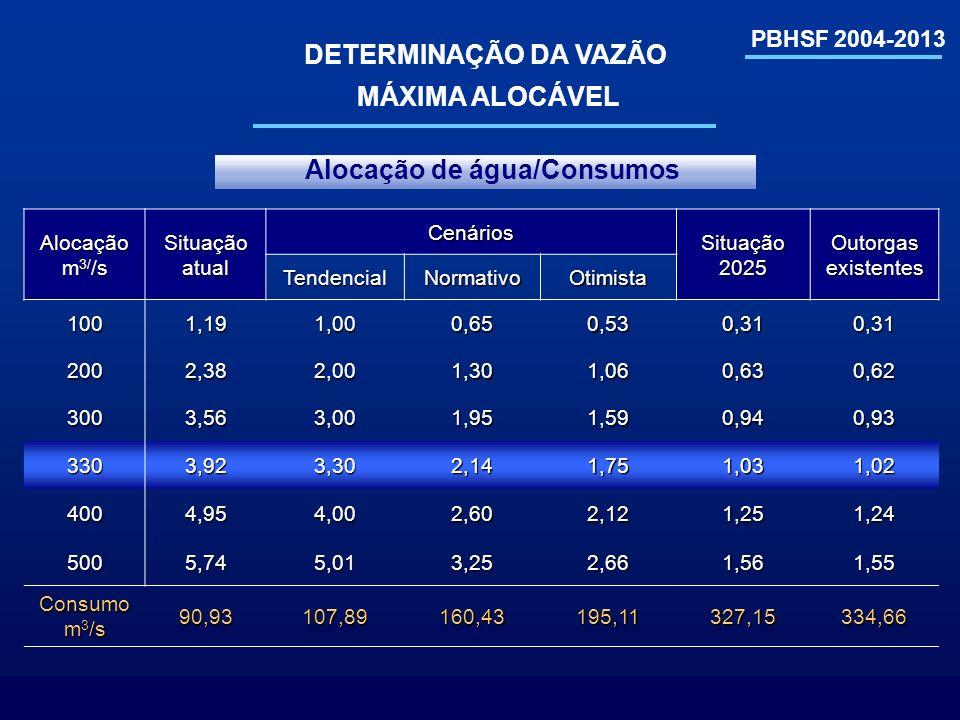 PBHSF 2004-2013 DETERMINAÇÃO DA VAZÃO MÁXIMA ALOCÁVEL Alocação m 3/ /s Situação atual Cenários Situação 2025 Outorgas existentes TendencialNormativoOt