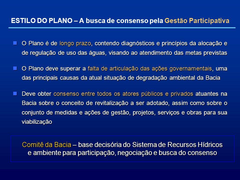 ESTILO DO PLANO – A busca de consenso pela Gestão Participativa O Plano é de longo prazo, contendo diagnósticos e princípios da alocação e de regulaçã