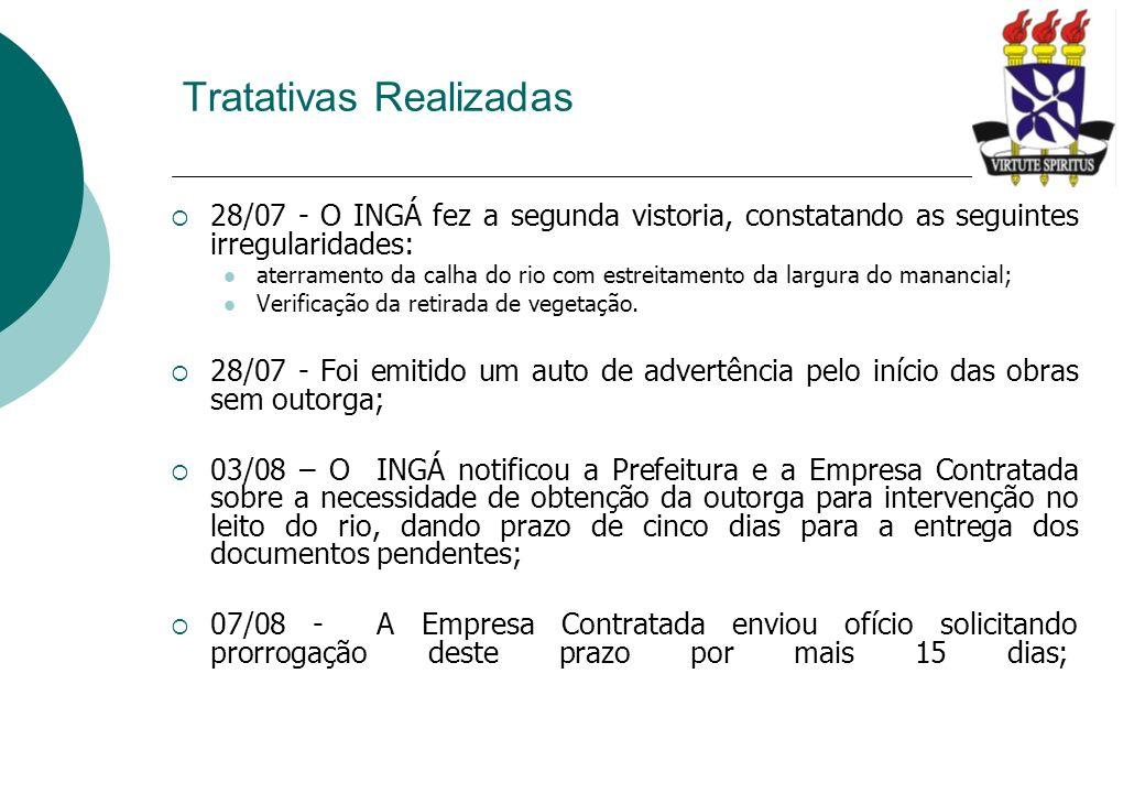 28/07 - O INGÁ fez a segunda vistoria, constatando as seguintes irregularidades: aterramento da calha do rio com estreitamento da largura do manancial
