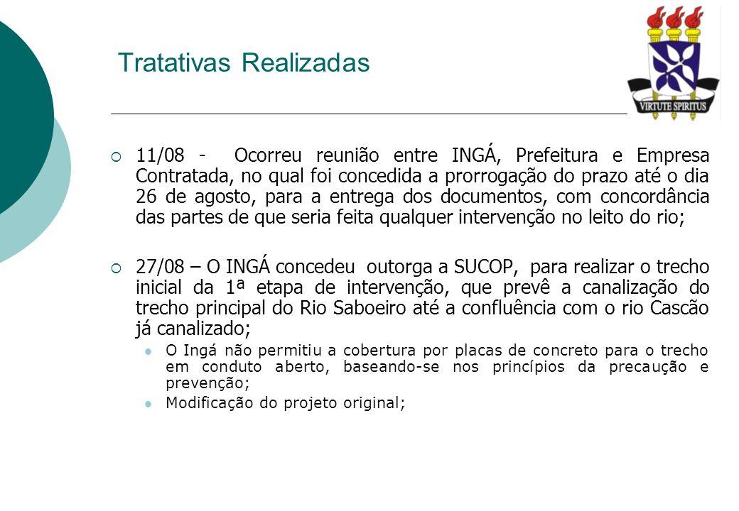 11/08 - Ocorreu reunião entre INGÁ, Prefeitura e Empresa Contratada, no qual foi concedida a prorrogação do prazo até o dia 26 de agosto, para a entre
