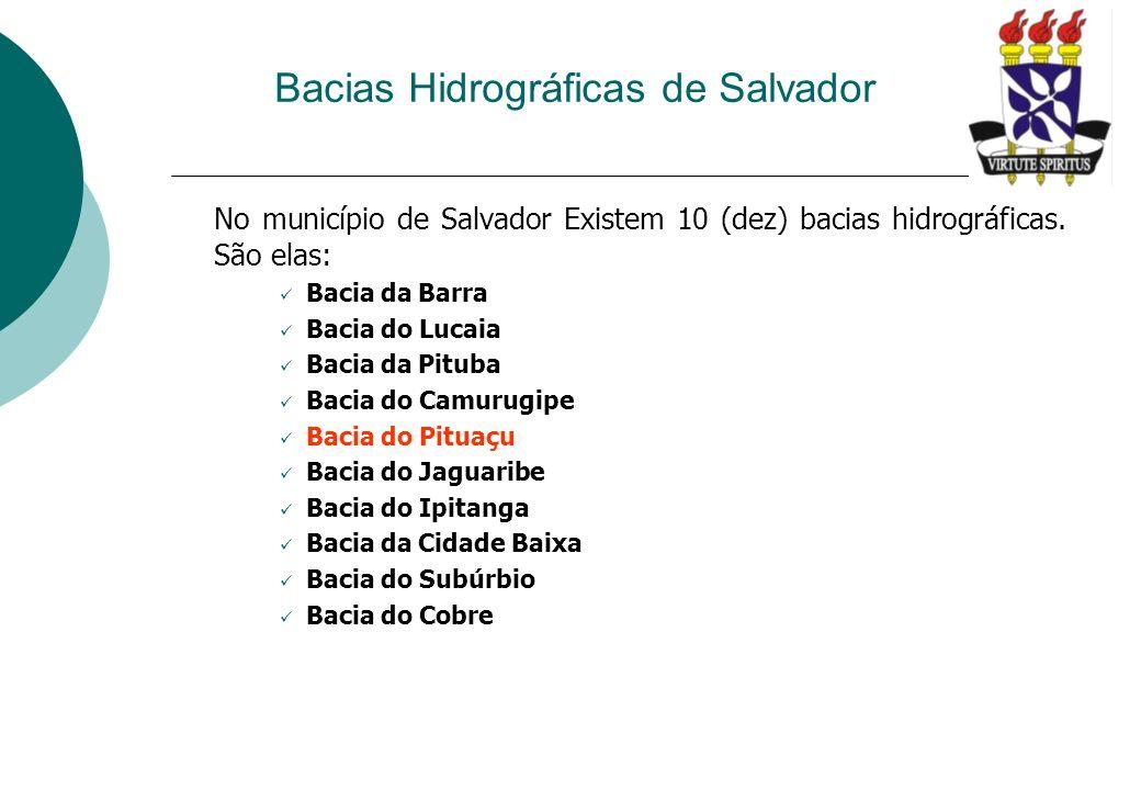 Bacias Hidrográficas de Salvador No município de Salvador Existem 10 (dez) bacias hidrográficas. São elas: Bacia da Barra Bacia do Lucaia Bacia da Pit