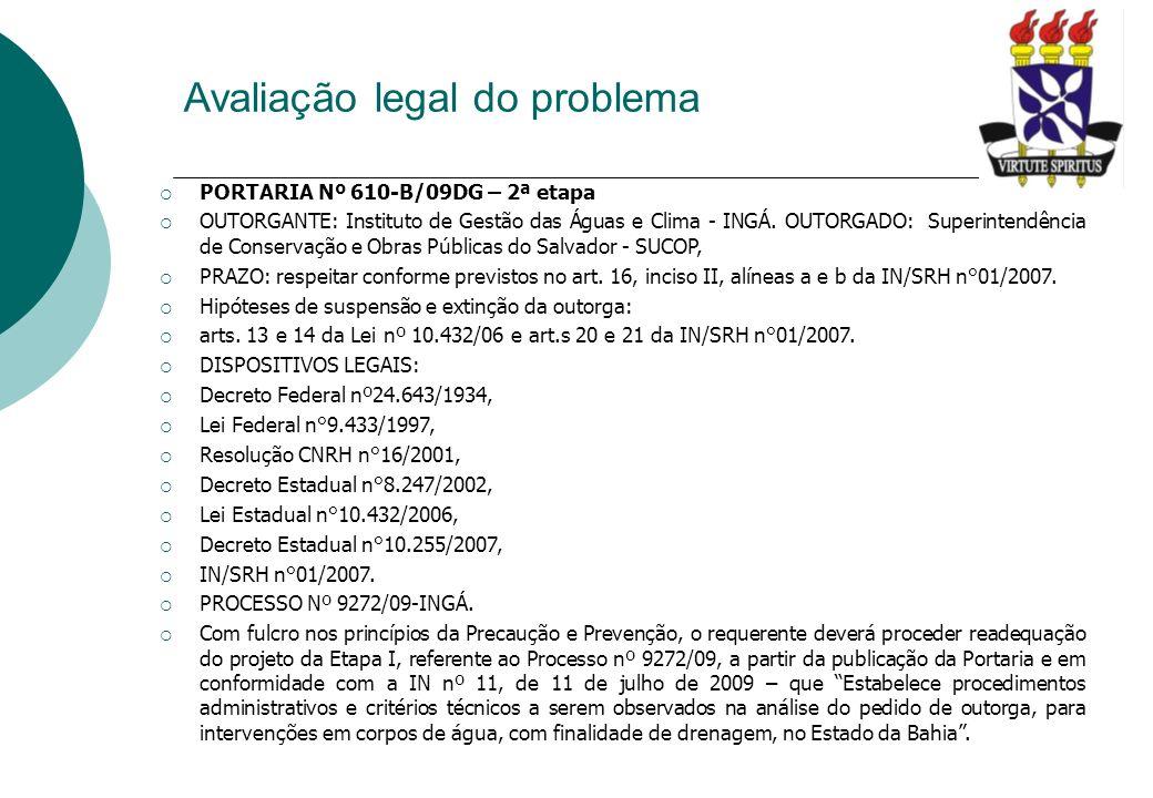 Avaliação legal do problema PORTARIA Nº 610-B/09DG – 2ª etapa OUTORGANTE: Instituto de Gestão das Águas e Clima - INGÁ. OUTORGADO: Superintendência de