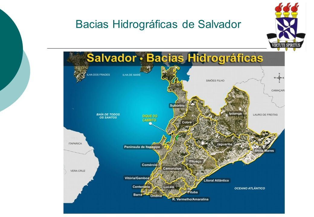 Bacia do Pituaçu – Características Gerais A bacia do Pituaçu possui uma área de 6.815 ha; Extensão total do rio Pituaçu – 9,4 km; Possui suas nascentes localizadas nos bairros de Cabula, Narandiba, Tancredo Neves, Cabula VI, Calabetão e Mata Escura; Após a Barragem de Pituaçu o rio passa a ser denominado de Rio das Pedras; Possui sua foz no Oceano Atlântico, no bairro da Boca do Rio; Tem como principal afluente o rio Cascão;