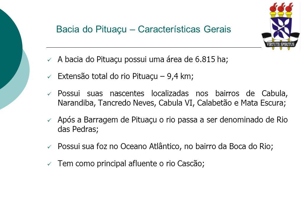 Bacia do Pituaçu – Características Gerais A bacia do Pituaçu possui uma área de 6.815 ha; Extensão total do rio Pituaçu – 9,4 km; Possui suas nascente