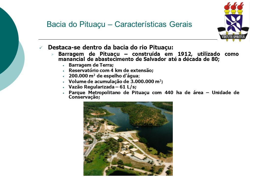 Bacia do Pituaçu – Características Gerais Destaca-se dentro da bacia do rio Pituaçu: Barragem de Pituaçu – construída em 1912, utilizado como manancia