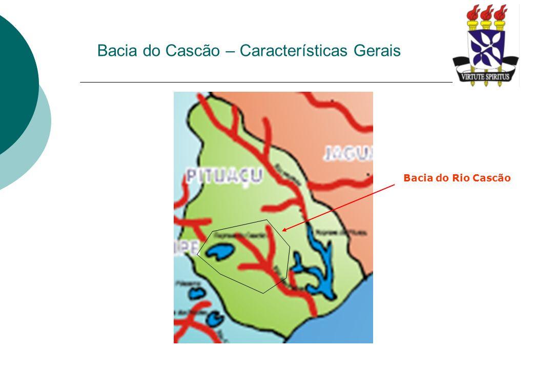 Bacia do Cascão – Características Gerais Destaca-se dentro da bacia do rio Cascão: Barragem do rio Cascão – construída em 1906 para abastecimento da sede municipal de Salvador, utilizado como manancial de abastecimento de Salvador até a década de 60; Parque do Cascão – Unidade de Conservação com remanescentes de Mata Atlântica dentro da área do 19º Batalhão de Caçadores – Exército Brasileiro; A atual Av.