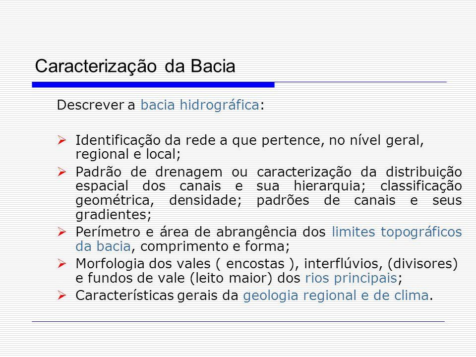 Caracterização da Bacia Descrever a bacia hidrográfica: Identificação da rede a que pertence, no nível geral, regional e local; Padrão de drenagem ou