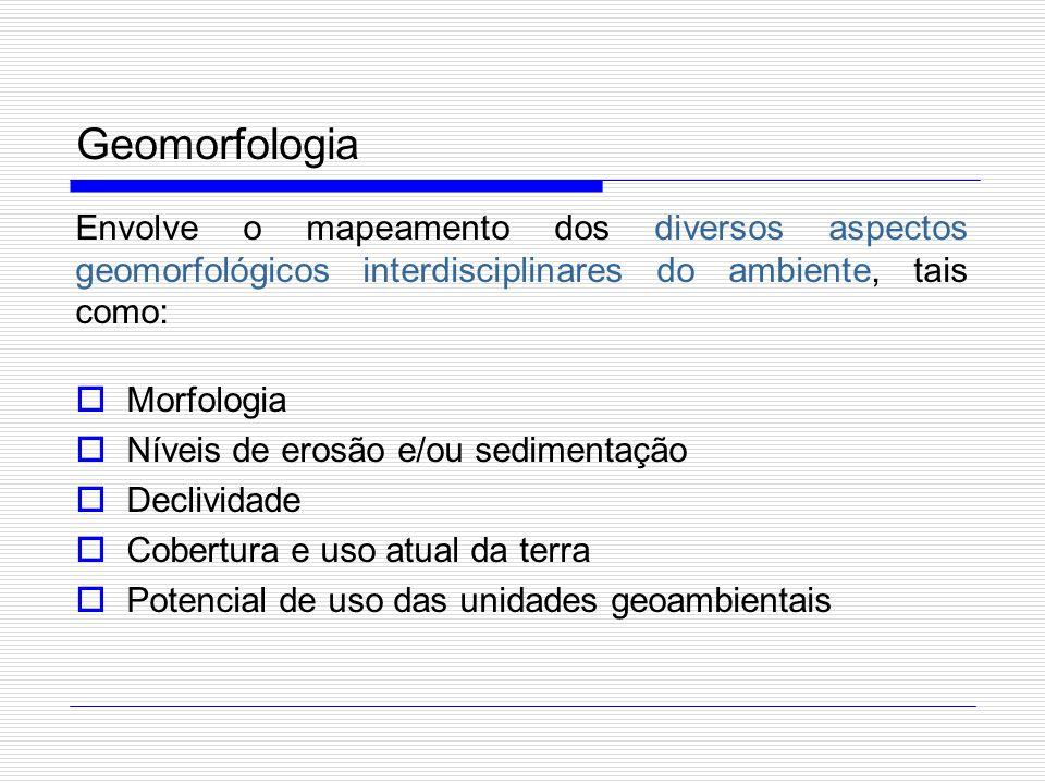 Geomorfologia Envolve o mapeamento dos diversos aspectos geomorfológicos interdisciplinares do ambiente, tais como: Morfologia Níveis de erosão e/ou s
