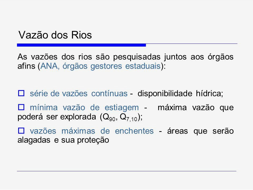 Vazão dos Rios As vazões dos rios são pesquisadas juntos aos órgãos afins (ANA, órgãos gestores estaduais): série de vazões contínuas - disponibilidad