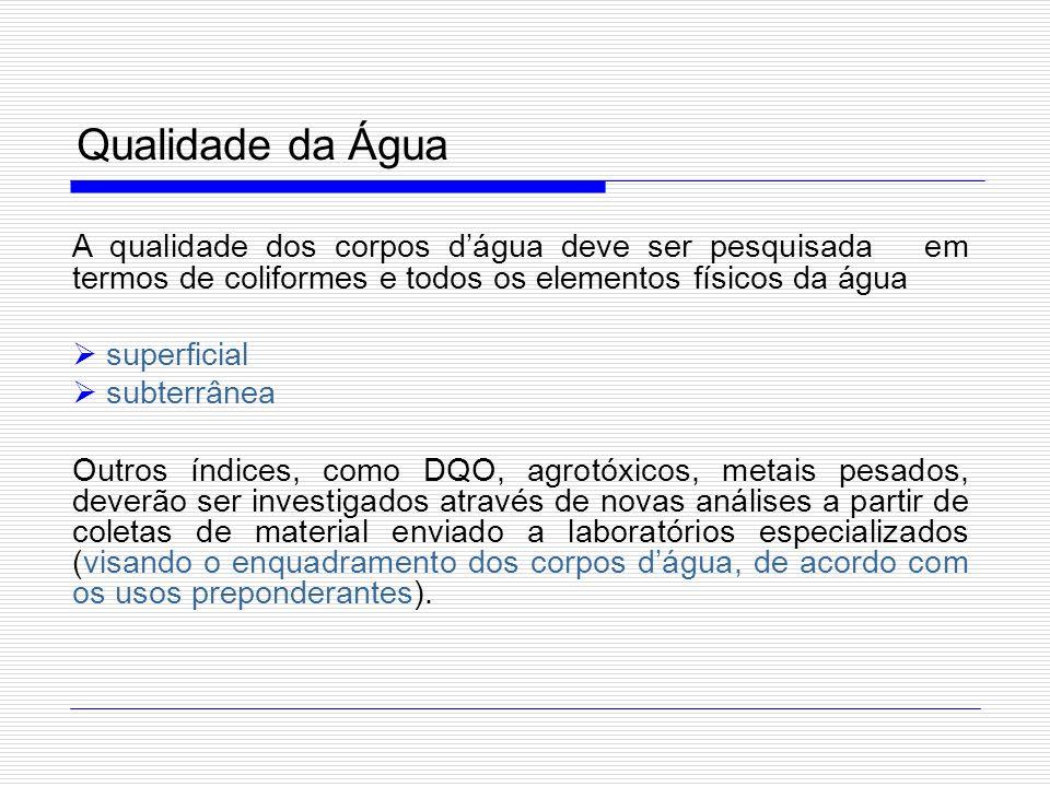 Qualidade da Água A qualidade dos corpos dágua deve ser pesquisada em termos de coliformes e todos os elementos físicos da água superficial subterrâne