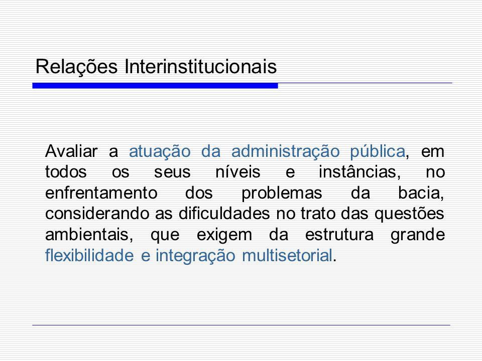 Relações Interinstitucionais Avaliar a atuação da administração pública, em todos os seus níveis e instâncias, no enfrentamento dos problemas da bacia